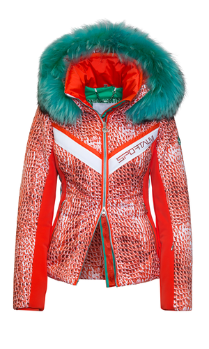 Sportalm Куртка с анималистичным принтом и контрастным мехом